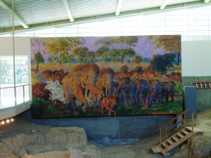 Mural showing an artists depiction of a flood